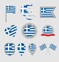 greece flag icons set national flag greece vector image
