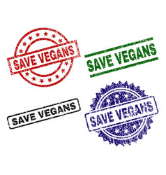 grunge textured save vegans stamp seals vector image
