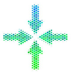 halftone blue-green collide arrows icon vector image
