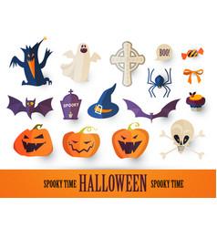halloween cartoon elements set stickers vector image