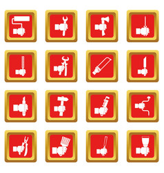 Hand tool icons set red vector