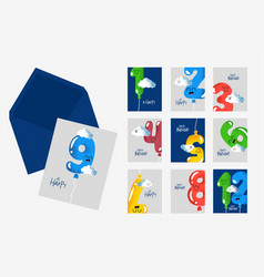Happy birthday card number envelope part of set vector