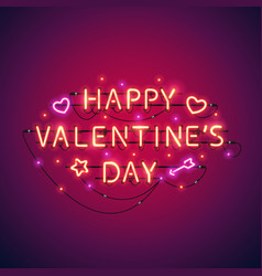 happy valentines day neon sign vector image