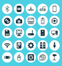 Hardware icons set collection of printed document vector