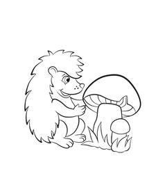 Little cute hedgehog sees the big mushroom vector