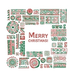 Merry christmas ethnic handmade ornament for your vector