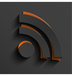 Modern RSS feed sign with shadow vector