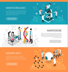 Nano technologies horizontal banners vector