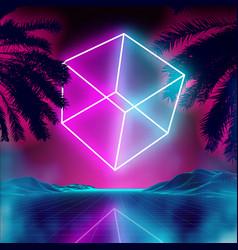Neon 3d cube on retro background landscape vector