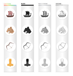 Norway viking attributes and other web icon in vector
