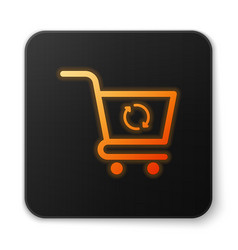 Orange glowing refresh shopping cart icon isolated vector
