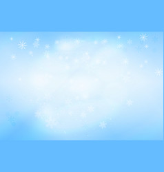 pastel blue bokeh background with snowflakes vector image