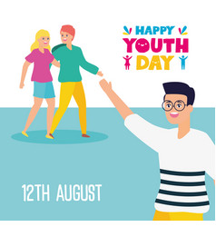 People happy youth day flat design vector