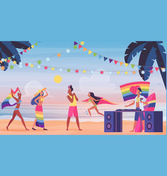 people in lgbt pride beach party vector image