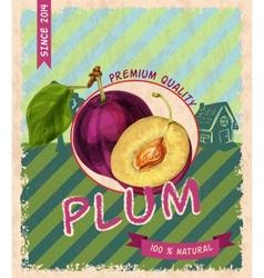 Plum retro poster vector image