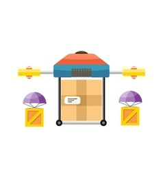 Quadrocopter Delivery Design Flat vector