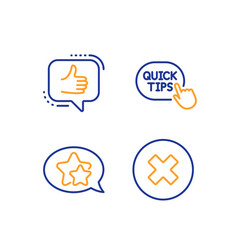 Quick tips star and like icons set close button vector