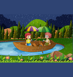 Rainy day with two kids in rowboat vector