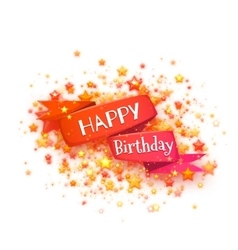Red ribbon with happy birthday title vector