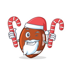 Santa american football character cartoon with vector