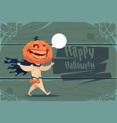 Scarecrow jack lantern pumpkin happy halloween vector