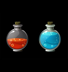 Set bright magic potions in glass bottles vector