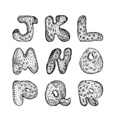 Set capital letters english alphabet j k l m n o p vector