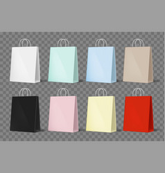 set colorful mockup paper shopping bags vector image
