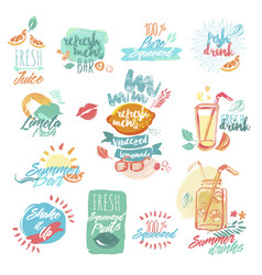 set fresh fruit juice and drinks signs vector image