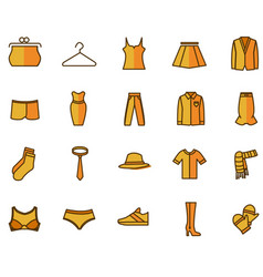 set icons with bright clothes vector image