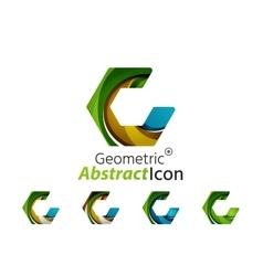 Set of abstract geometric company logo hexagon vector