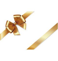shiny golden satin ribbon gold bow vector image
