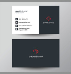 Simple red and grey business card design vector