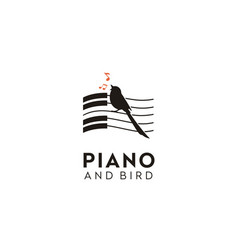 Singing bird piano music key notes silhouette logo vector