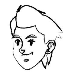 sketch face boy sport style design vector image