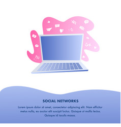Social networks website flat color template vector