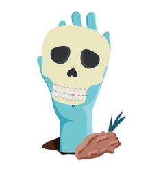 Sombie hand lifting skull head halloween vector