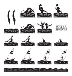 Sports athletes water silhouette set vector