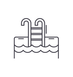 sports pool line icon concept sports pool vector image