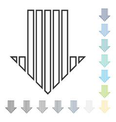 Stripe arrow down icon vector