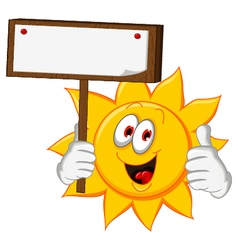Sun cartoon holding blank board vector