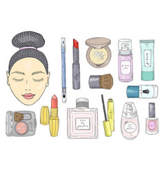 the girl s face with eyes closed and with makeup vector image