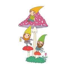 three cute cartoon gnomes forest elves fairy vector image