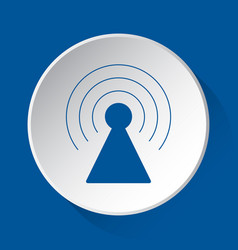 Transmitter tower - blue icon on white button vector