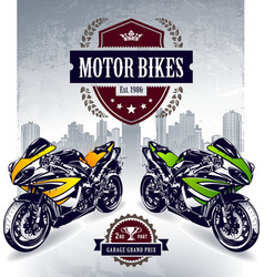 Two sport motorbikes vector image