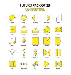 universal icon set yellow futuro latest design vector image