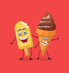 vanilla and chocolate ice cream funny characters vector image