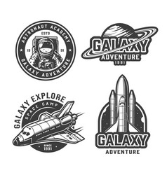 vintage monochrome space labels vector image