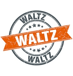 Waltz round orange grungy vintage isolated stamp vector
