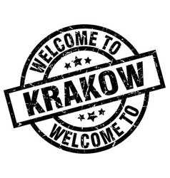 Welcome to krakow black stamp vector